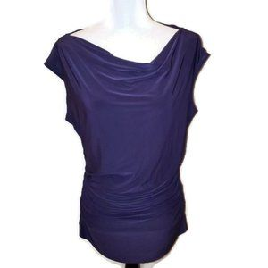 The Limited Dark Purple Runched Waist Blouse …